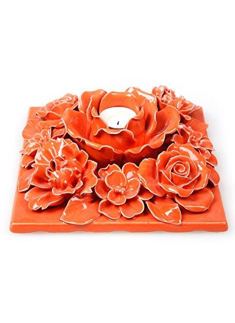 Misto Home El İşi Çiçek Mumluk  Oranj